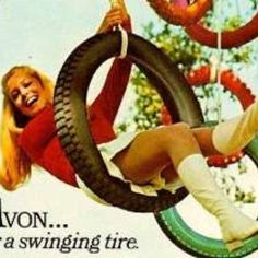 Tall white leather boots, clearly an ad from the 1960s or 70s. Vintage Tire Ad