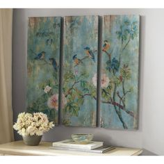 Pottery Barn Bird & Branch Triptych Panels found on Polyvore featuring polyvore, home, home decor, branches home decor, bird home decor, pottery barn and distressed home decor