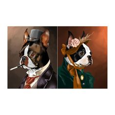 Boston Terrier Gent & Lady Print, $22, now featured on Fab.