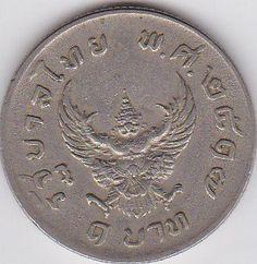 Coin: Old Coins Thailand 1 Baht 1974 Coin Thai King Rama Ix Antiques Collectibles Coin Garuda