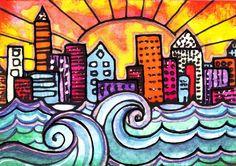 SALE ACEO Fine art print Hand Embellish with sparkle city ocean waves beach sun | eBay