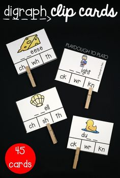 45 digraph clip cards for kindergarten, first grade or second grade. Great literacy center or word work idea!