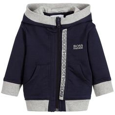 Designed for younger boys, this navy blue zip-up hooded top by BOSS, is made in cotton jersey. The designer's logo is embroidered on the chest and printed down the front zip in grey, with blue rubberised lettering. There are grey ribbed trims, pouch pockets and a lined hood, for extra warmth.
