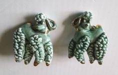 Vintage Aqua White Gilt Porcelain Poodle Clip on Earrings   eBay