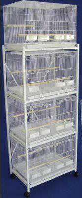 Brand New Lot of Four Aviary Breeding Bird Cages 30x18x18 With Divider With Stand - WHITE