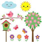Conjunto de pássaros e flores — Ilustração de Stock #106372490
