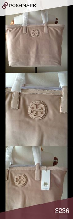Tory Burch E/W tote Great nylon tote . Brand new, with tag attached. Very light , lots of space inside . The bag is nude/blush. Tory Burch Bags Totes