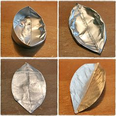metal tea light cups into silver leaves // Hopeiset lehdet - romusta kaunista Aluminum Can Crafts, Tin Can Crafts, Aluminum Cans, Metal Crafts, Fun Crafts, Diy And Crafts, Upcycled Crafts, Recycled Art, Metal Embossing