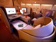 "First Class Etihad, your seat becomes a full 180° bed, so comfy. Makes even long flights ""bearable""."