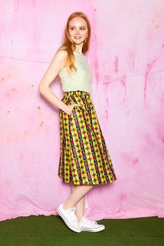 African geometric print midi skirt - SALE