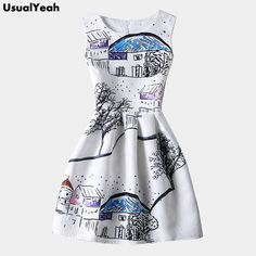 Goedkope 2016 nieuwe zomer vrouwen mouwloze mode sneeuw huis schilderen jacquard casual jurken witte jurk mini jurk herfst dieptepunt, koop Kwaliteit jurken rechtstreeks van Leveranciers van China:       Tegel meting dimensie( meeteenheid: cm)  grootte buste taille lengtes64 8180m68 8580