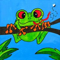 Friendly Frog - this tree frog would make a great canvas painting party theme for a kid party.