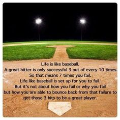 Quote: Life is like baseball . Quote: Life is like baseball . Espn Baseball, Baseball Tips, Baseball Crafts, Baseball Season, Baseball Field, Baseball Dugout, Baseball Stuff, Baseball Sayings, Baseball Scoreboard