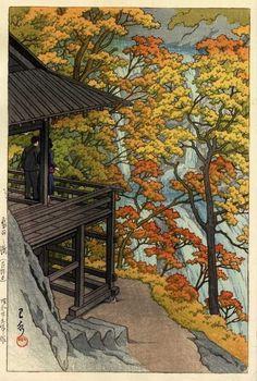 Autumn at Fukuroda falls, Ibaragi, by Kawase Hasui (1954)