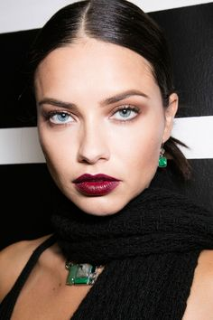 Modern Gothic trend for Autumn/Fall 2016: Dark red or berry lip, you can prep your lips with a tad of black eyeliner and then apply the lipstick to make it look almost black.