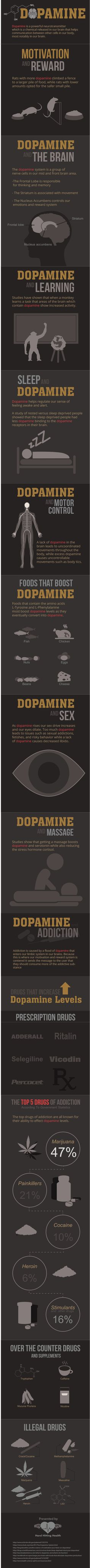 Dopamine is a powerful neurotransmitter which is a chemical released in our brain that helps communication between other cells in our body, most notably in our