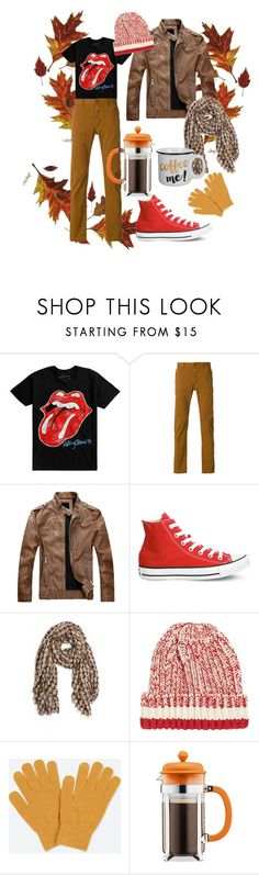 """""""Afternoon at the Café and a Stroll in the Park"""" by curvyquill ❤ liked on Polyvore featuring Hot Topic, Closed, Converse, Pin1876, Drakes London, Uniqlo, Bodum, men's fashion and menswear"""