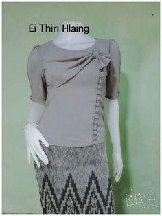 Batik Fashion, Fashion Sewing, Kurti Neck Designs, Blouse Designs, Traditional Dresses Designs, Myanmar Dress Design, Kids Dress Wear, African Fashion, Fashion Outfits