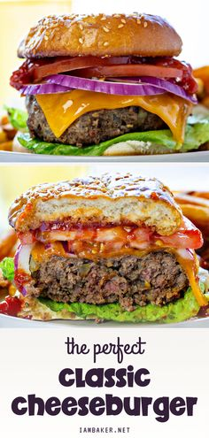This is the best cheeseburger recipe in the world! This classic cheeseburger recipe is made with toasted sesame seed bun stuffed with hamburger, cheese, crisp onion, lettuce, tomato, pickles, ketchup, and mustard. Perfect for an easy 4th of July recipes! Seafood Sandwich Recipe, Healthy Sandwich Recipes, Soup And Sandwich, Hamburger Recipes, Beef Recipes, Cooking Recipes, Incredible Recipes, Kitchen Recipes