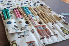 Knitting needle roll tutorial *measurements seem to be a little off, so make sure to check before buying fabric!