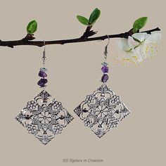 Large silver earrings amethyst jewelry by DSNatureetCreation https://www.etsy.com/listing/290000265/large-silver-earrings-amethyst-jewelry