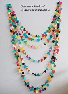 geometric garland weekday carnival : THIS IS FUN! Diy And Crafts, Crafts For Kids, Arts And Crafts, Paper Crafts, Felt Crafts, Paper Art, Diy Pompon, Party Girlande, Bunting Garland