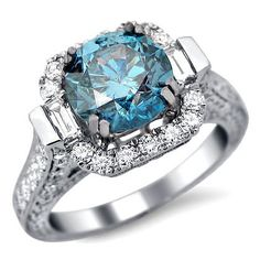 Fancy Blue Round Diamond Engagement Ring