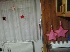 pletené hvězdy na zavěšení + chňapky