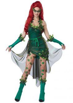 Poison Ivy De stripheldin Poison Ivy staat bekend als een van 's werelds meest prominente ecoterroristen. Ze gebruikt giffen uit planten en uit haar eigen lichaam voor haar criminele doeleinden. Met deze giffen heeft ze onder andere Batman en Superman al eens in haar macht gekregen. Dit sexy stripheldin Poison Ivy kostuum bestaat uit zes delen waaronder ook het masker en de geprinte legging.