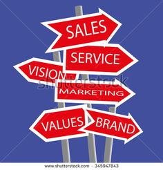 Collection of signposts in the form of direction arrows with the keywords for business basics added in white text on red