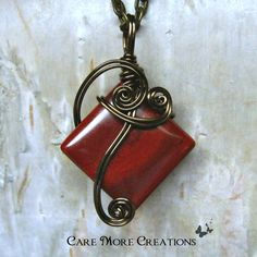 Red Jasper Wire Wrapped Pendant Necklace in Antique Bronze by CareMoreCreations.com, $25.00