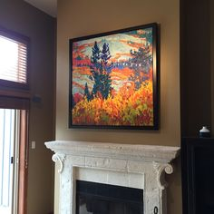 """Home owner in Whistler made a Great choice to replace the TV with a painting by BC artist Dominik Modlinski! 'Orange Glory' 48"""" x 48"""" Oil on Canvas"""