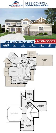 A beautiful Craftsman home design, Plan 2699-00007 features 3,870 sq. ft., 3 bedrooms, 4 bathrooms, a kitchen island, an open floor plan, an exercise room, a sitting room, and a study. #craftsman #architecture #houseplans #housedesign #homedesign #homedesigns #architecturalplans #newconstruction #floorplans #dreamhome #dreamhouseplans #abhouseplans #besthouseplans #newhome #newhouse #homesweethome #buildingahome #buildahome #residentialplans #residentialhome
