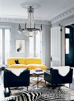 Black, white and yellow living room accented w/ zebra rug. i like the layout of this room im in LOVE with the rug and the chandaler and also the yellow couch My Living Room, Home And Living, Living Spaces, Modern Living, Cozy Living, Living Room Decor With Grey Walls, Modern Room, Small Living, Black White And Grey Living Room