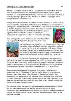 Science teaching resource, Great Barrier Reef printable ...