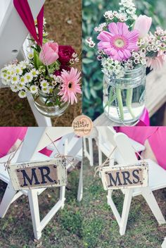 Bliss and Whimsy » blog with awesome wedding... love the signs with the burlap.