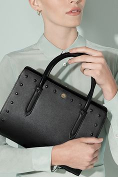 Our medium zip-top leather bag with a studded trim, the Liverpool Street adds an edgy touch to one of our timeless handbag shapes.