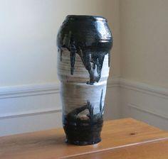 Vintage Black & White Mid Century Vase by RosesWandering on Etsy