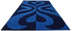 """A custom hand tufted pure wool rug in traffic and deep lavender blue. It has a pile depth of 15-18mm. Created using the """"Mirrored"""" design. #CustomRugRoom"""