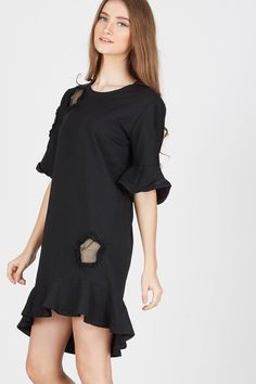 Sell Francois Quaken Dress in Black Casual | Berrybenka.net