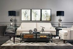 Bold Neutrals: A classic color combination, black and white bring drama and sophistication to an otherwise neutral space. Jacob Sofa, $1,199. Benjamin Moore Chelsea Gray