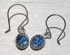 Sterling Silver Blue Opal Earrings by Beazora on Etsy