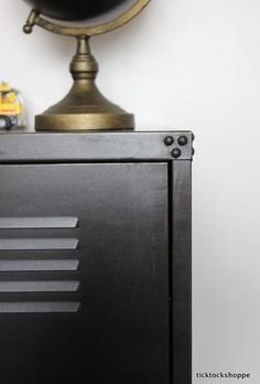 grizzpiece added handles for the IKEA PS cabinet using leather and