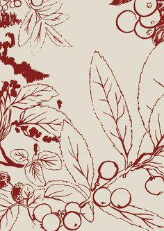 Berries (in rust) hand screen-printed fabric yardage / meterage, designed by Philippa Wilkinson of Pip Willy.