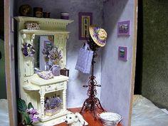 Pretty. Shabby purple miniaturePurple dollhouse images. Looks like Lettsomes/Gershowitz. Zemer Wolf Berwyn.