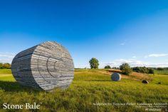 Stone Bale StoneBale sculpture landscape art stone farm field copyright