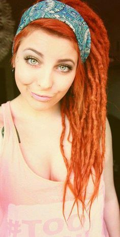 Redhead with beautiful dreads / dreadlocks