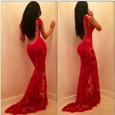 sexy backless long red mermaid prom dress lace evening gown 2015