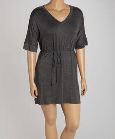 This Poliana Plus Heather Gray V-Neck Dress - Plus by Poliana Plus is perfect! #zulilyfinds