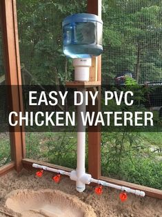 Chicken Coop - Learn a super easy way to keep your flock watered: www. Building a chicken coop does not have to be tricky nor does it have to set you back a ton of scratch. Pvc Chicken Waterer, Chicken Feeders, Backyard Chicken Coops, Chicken Coop Plans, Building A Chicken Coop, Diy Chicken Coop, Chickens Backyard, Chicken Water Feeder, Chicken Tractors